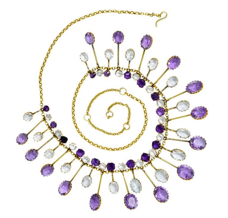 Victorian Aquamarine Amethyst 12 Karat Gold Fringe Necklace For Sale 6