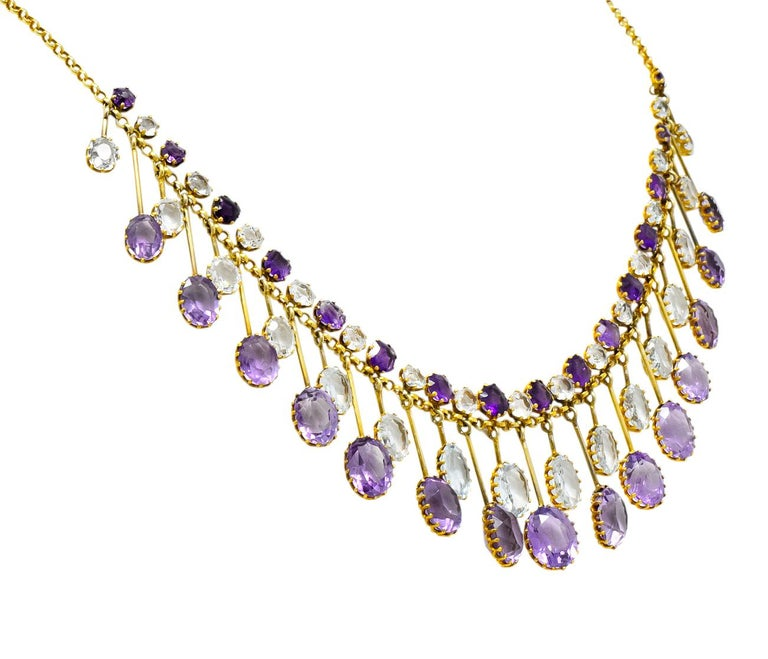 Victorian Aquamarine Amethyst 12 Karat Gold Fringe Necklace In Excellent Condition For Sale In Philadelphia, PA