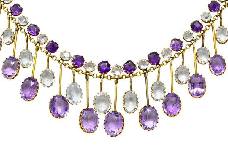 Women's or Men's Victorian Aquamarine Amethyst 12 Karat Gold Fringe Necklace For Sale