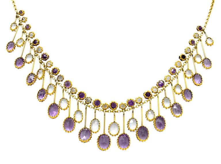 Victorian Aquamarine Amethyst 12 Karat Gold Fringe Necklace For Sale 1