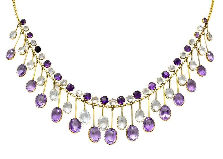 Victorian Aquamarine Amethyst 12 Karat Gold Fringe Necklace For Sale 5