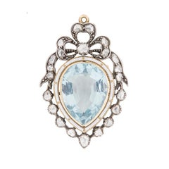 Victorian Aquamarine and Diamond Brooch Pendant, c.1880s