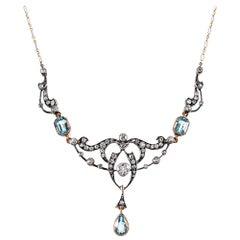 Victorian Aquamarine and Diamond Festoon Necklace with Original Box