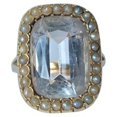Victorian Aquamarine and Pearl 15 Carat Gold Cluster Ring