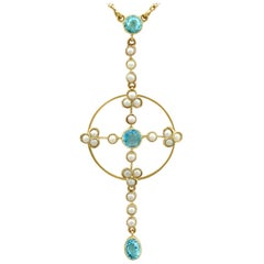 Victorian Aquamarine and Pearl Yellow Gold Pendant