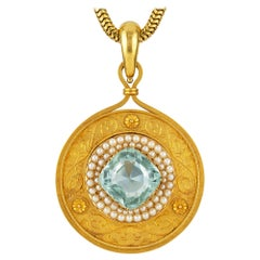 Victorian Aquamarine, Pearl and Gold Pendant-Necklace