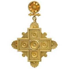 Victorian Archaeological Revival Gold Cross Pendant Brooch
