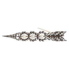 Victorian Arrow Brooch Rose-Cut Diamonds Pearls Gold Silver Unisex, 1895