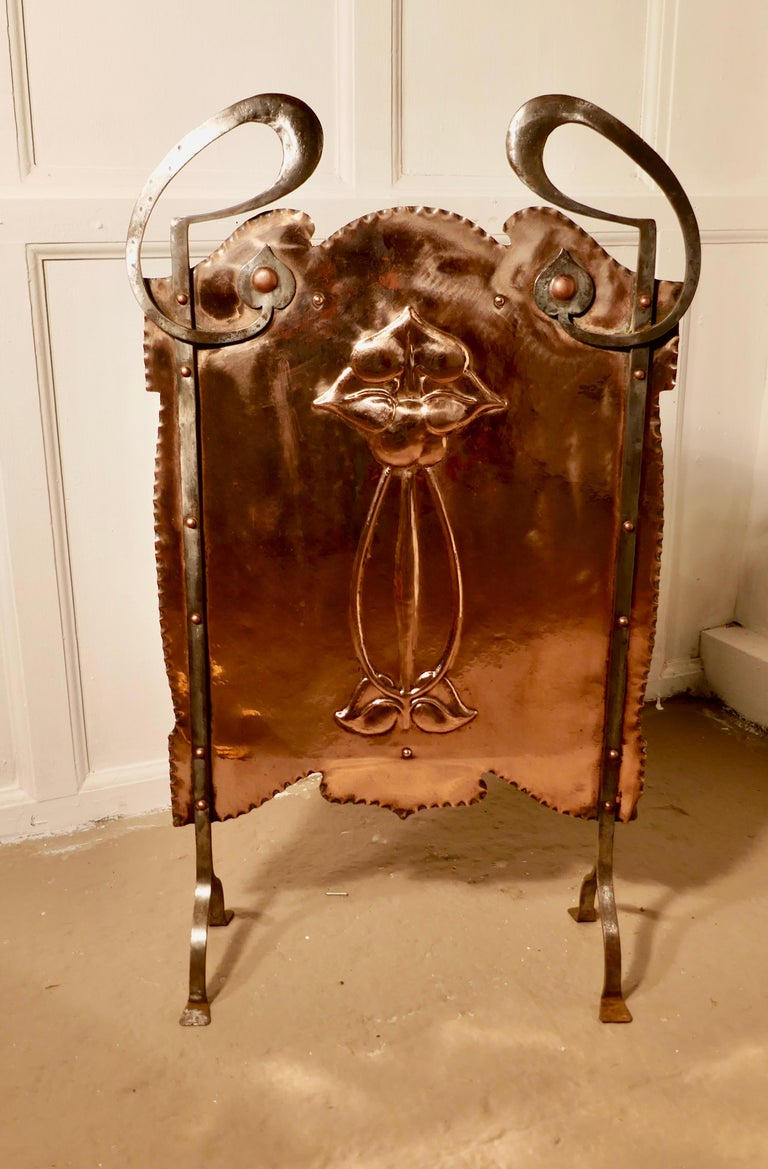 19th Century Victorian Art Nouveau Copper and Polished Steel Fire Screen For Sale