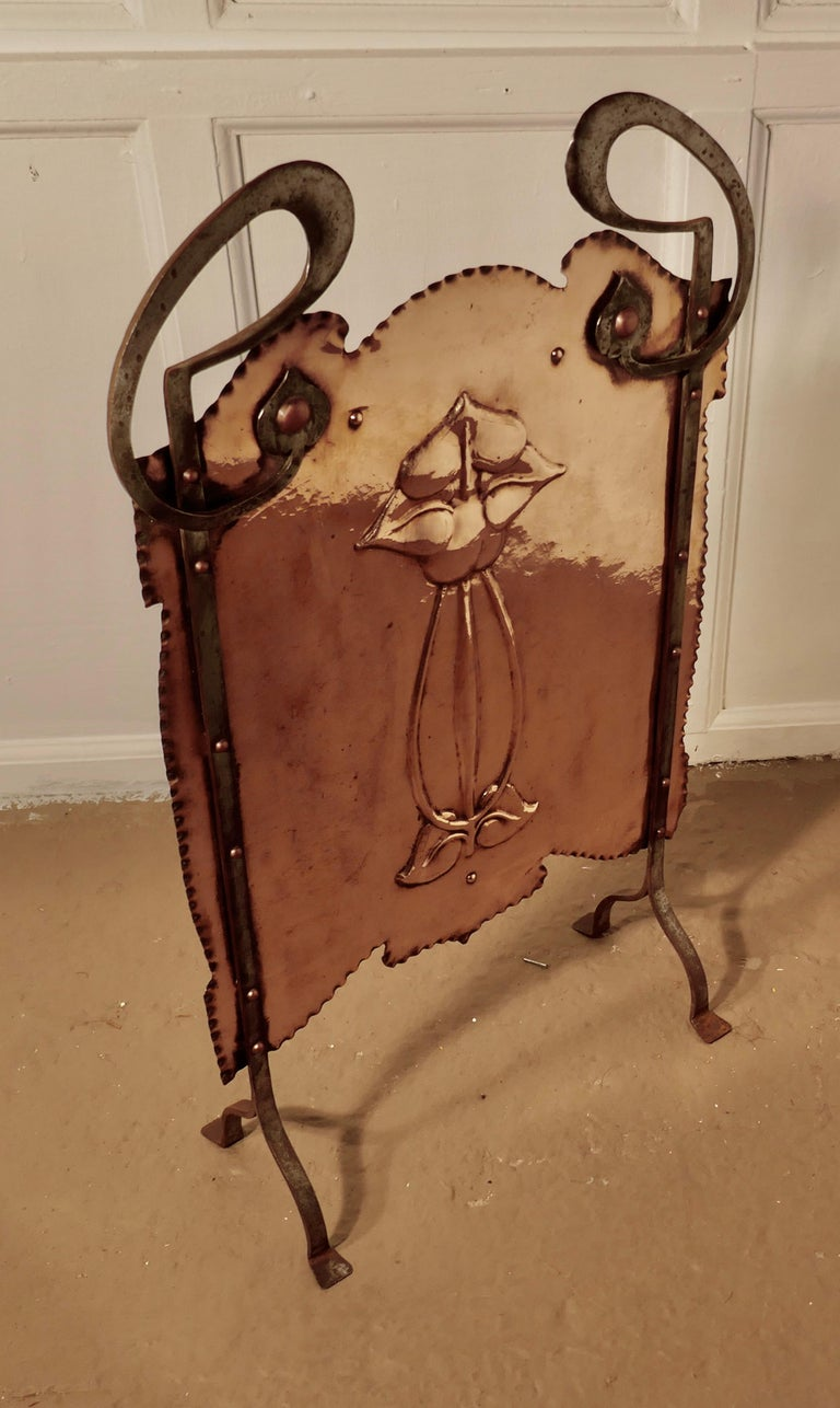 Victorian Art Nouveau Copper and Polished Steel Fire Screen For Sale 4