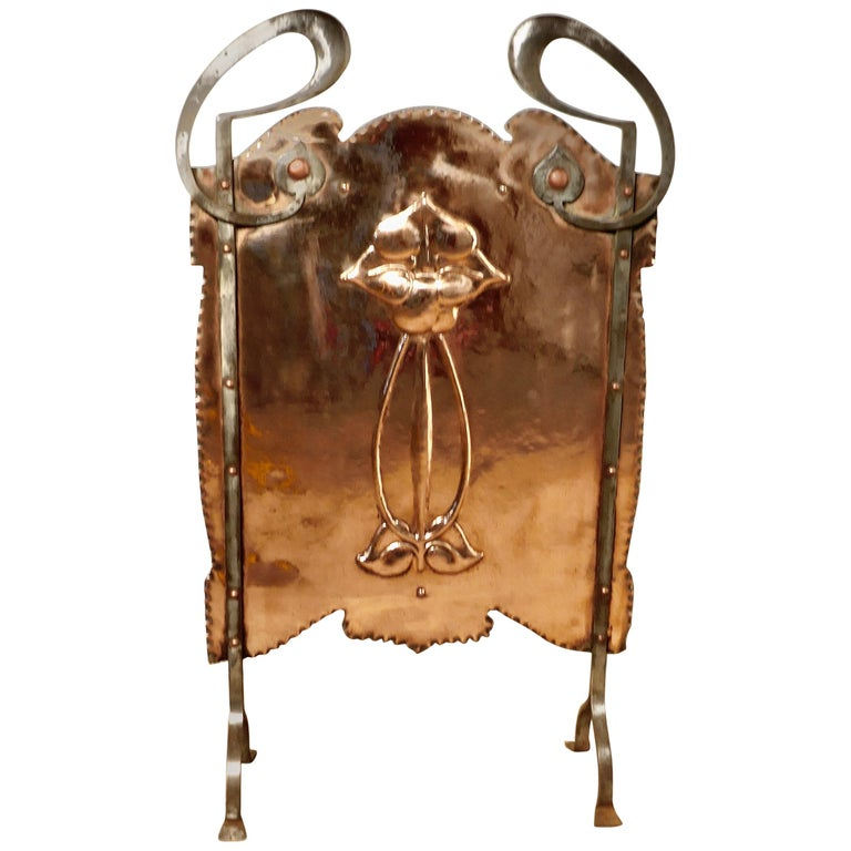 Victorian Art Nouveau Copper and Polished Steel Fire Screen For Sale