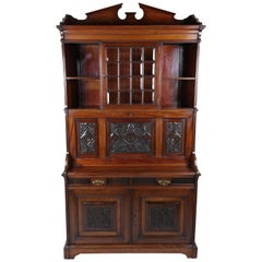 Victorian Arts & Crafts Walnut Secretaire Cabinet