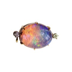 Victorian Australian Contraluz Opal Pin with Diamonds in Gold and Platinum