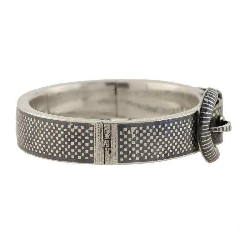 Women's Victorian Austrian Wide Niello Checkerboard Buckle Bracelet For Sale