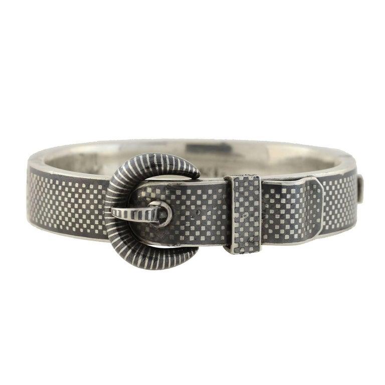 Victorian Austrian Wide Niello Checkerboard Buckle Bracelet For Sale