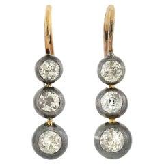 Victorian Austro-Hungarian Sterling/14kt Diamond Drop Earrings 1.50ctw