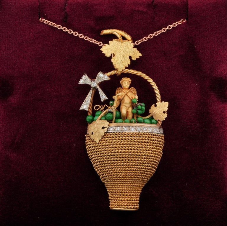 Myths & Legends  An impressive and quite unique late Victorian period, large sculptured 18 KT gold pendant Italian Artistry made totally by hand, by some great past goldsmith Allegory to Bacchus or Dionysus in the Greek version – During Victorian