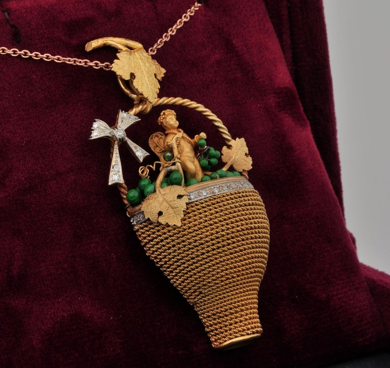 Women's Victorian Bacchus Allegory Amazing 18 Karat Diamond Enamel Large Rare Pendant For Sale