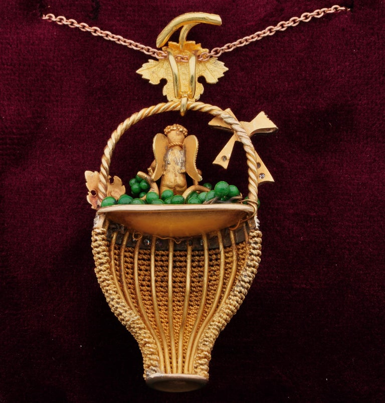 Victorian Bacchus Allegory Amazing 18 Karat Diamond Enamel Large Rare Pendant For Sale 4