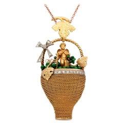 Victorian Bacchus Allegory Amazing 18 Karat Diamond Enamel Large Rare Pendant