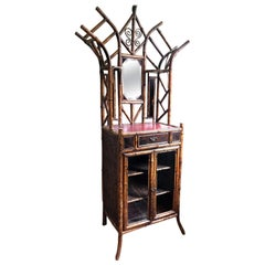 Victorian Bamboo and Lacquer Victorian Cabinet in the Japanese Taste