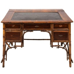 Victorian Bamboo and Leather Desk