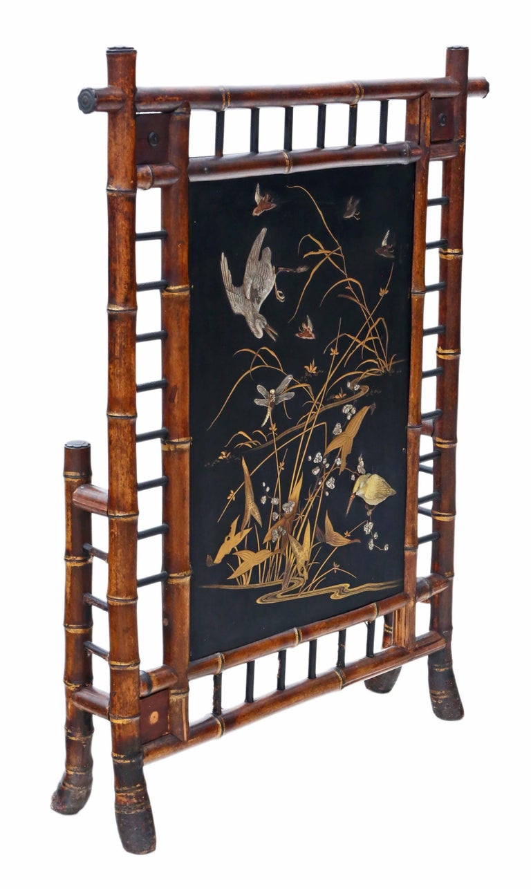 Victorian Bamboo Decorated Fire Screen In Good Condition For Sale In Wisbech, Cambridgeshire