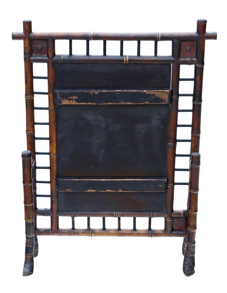 Early 20th Century Victorian Bamboo Decorated Fire Screen For Sale