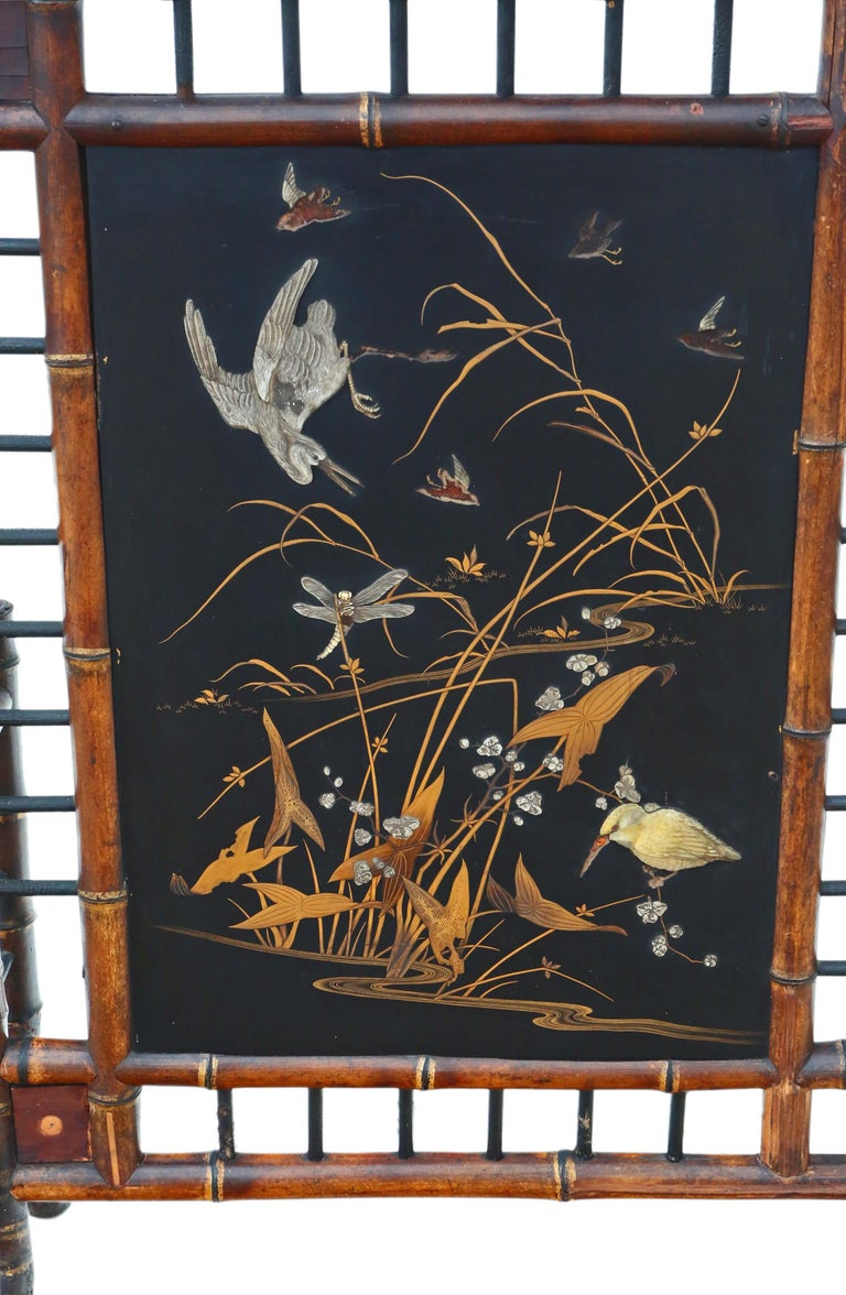 Victorian Bamboo Decorated Fire Screen For Sale 2