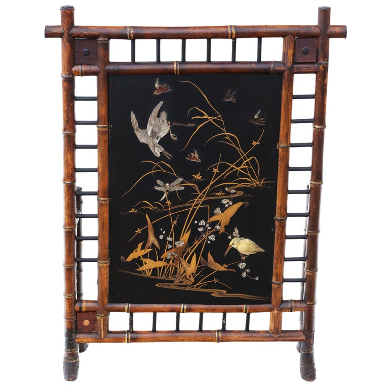 Victorian Bamboo Decorated Fire Screen For Sale