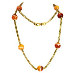 Victorian Banded Agate and 18 Carat Gold Necklace