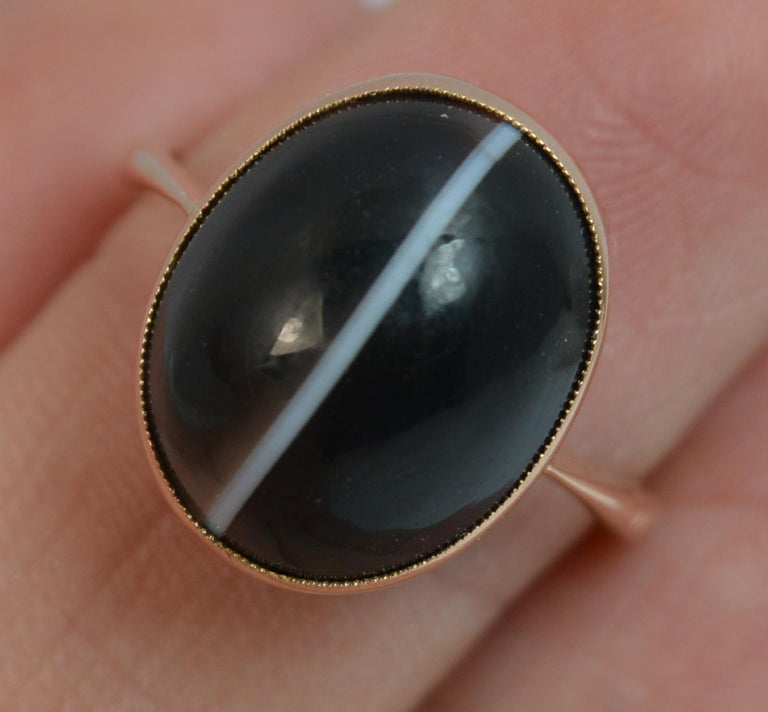 Women's Victorian Banded Agate and 9 Carat Rose Gold Solitaire Ring For Sale