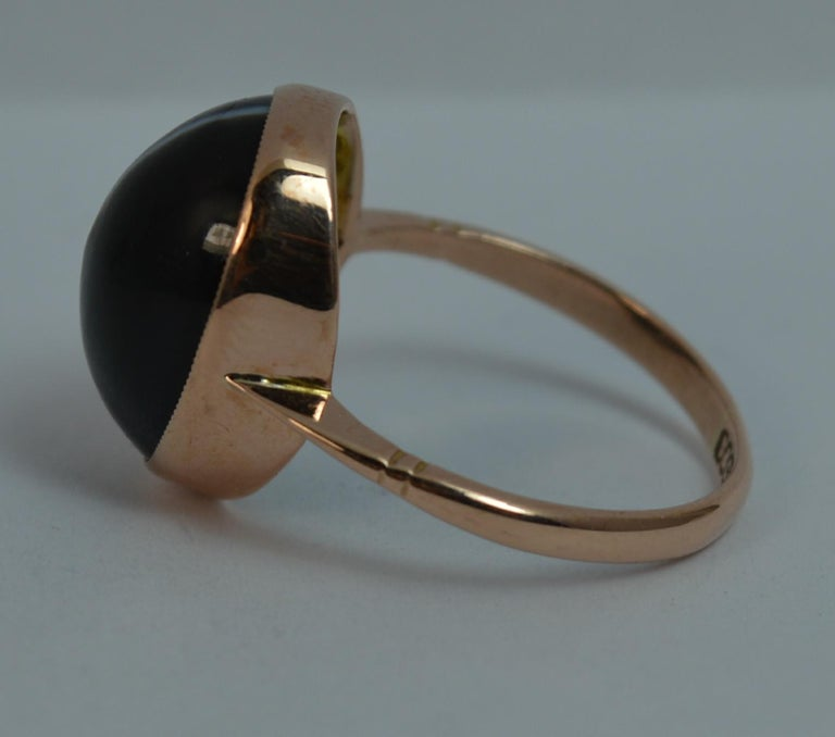 Victorian Banded Agate and 9 Carat Rose Gold Solitaire Ring For Sale 2