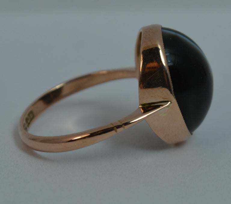 Victorian Banded Agate and 9 Carat Rose Gold Solitaire Ring For Sale 4