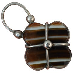 Victorian Banded Agate Solid Silver Padlock Pendant