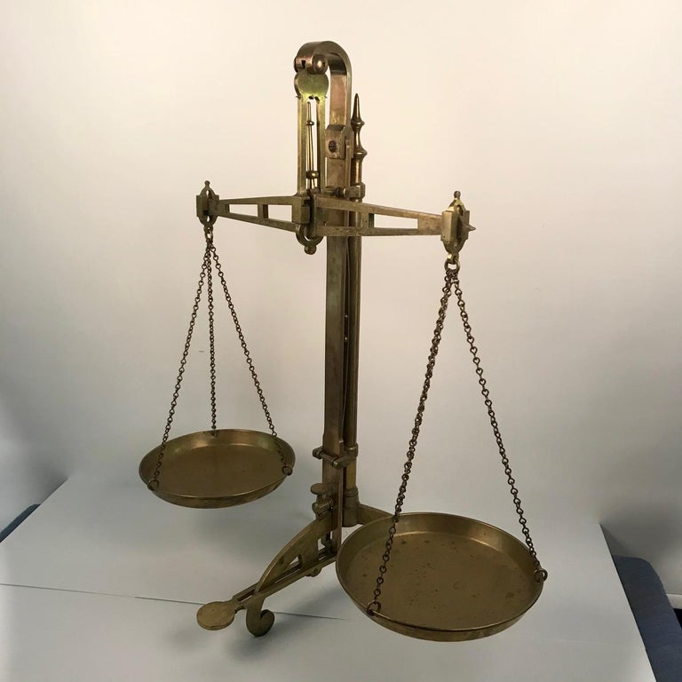 Victorian Bankers Brass Balance Scale by W & T Avery For Sale 11