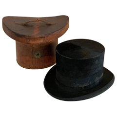 Victorian Beaver Silk Top Hat with Custom Leather Hat Box