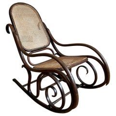 Victorian Bentwood and Cane Rocking Chair by Thonet