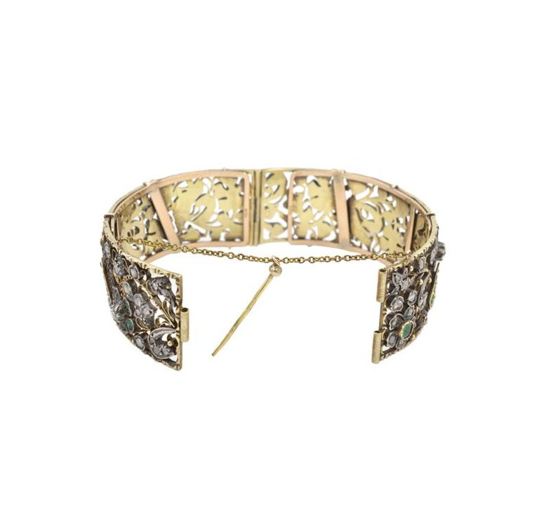Rose Cut Victorian Bird and Flower Bangle Bracelet, 1870s For Sale