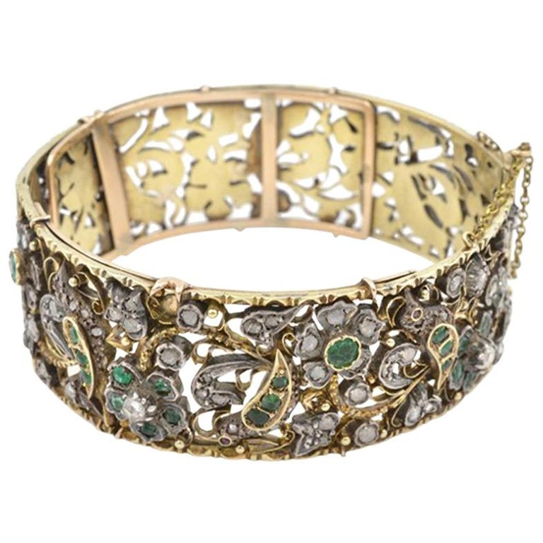 Victorian Bird and Flower Bangle Bracelet, 1870s For Sale