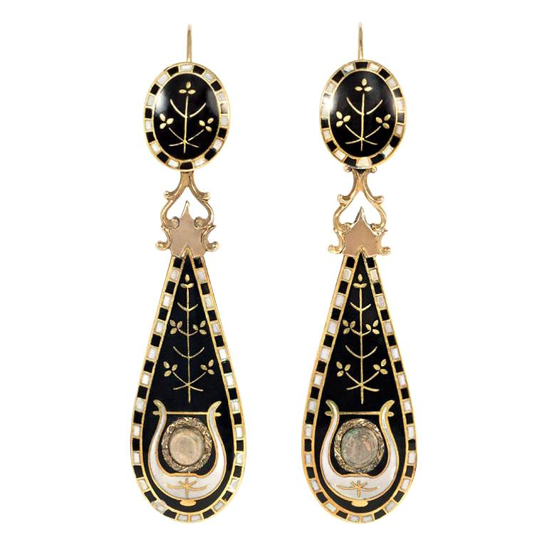 Victorian Black and White Swiss Enamel and Gold Pendant Earrings