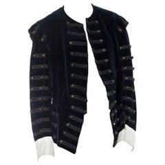 Victorian Black Cotton & Silk Velvet Men's 16Th Century Style Doublet Jacket Wi