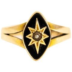 Victorian Black Enamel and Pearl 18 Karat Gold Navette Morning Ring