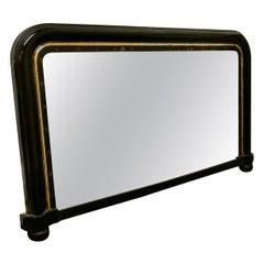 Victorian Black Lacquer Over-Mantel Mirror