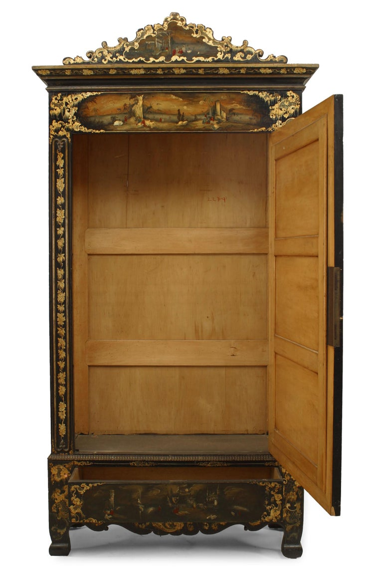 Late Victorian Victorian Black Lacquered Mirrored Armoire with Gilt Embellishments For Sale