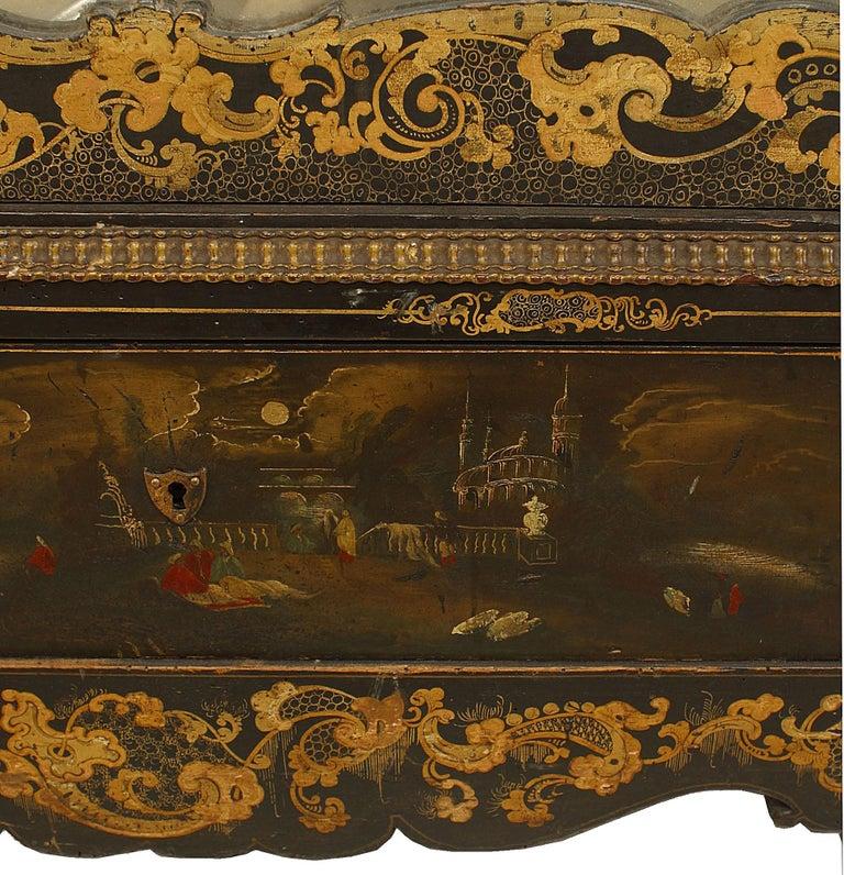 19th Century Victorian Black Lacquered Mirrored Armoire with Gilt Embellishments For Sale