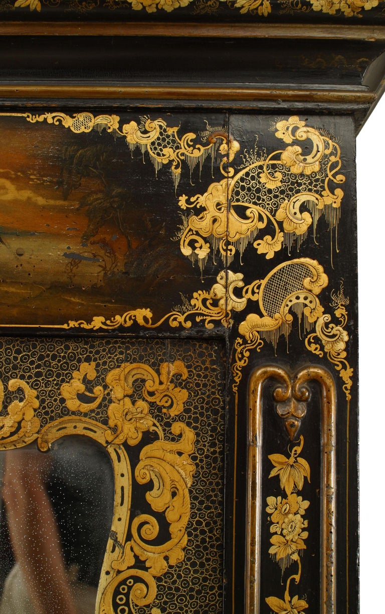 Victorian Black Lacquered Mirrored Armoire with Gilt Embellishments For Sale 1