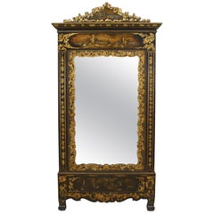 Victorian Black Lacquered Mirrored Armoire with Gilt Embellishments