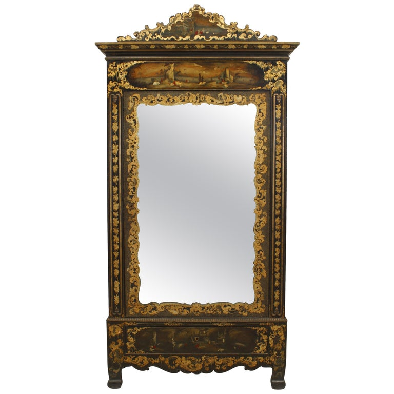 Victorian Black Lacquered Mirrored Armoire with Gilt Embellishments For Sale