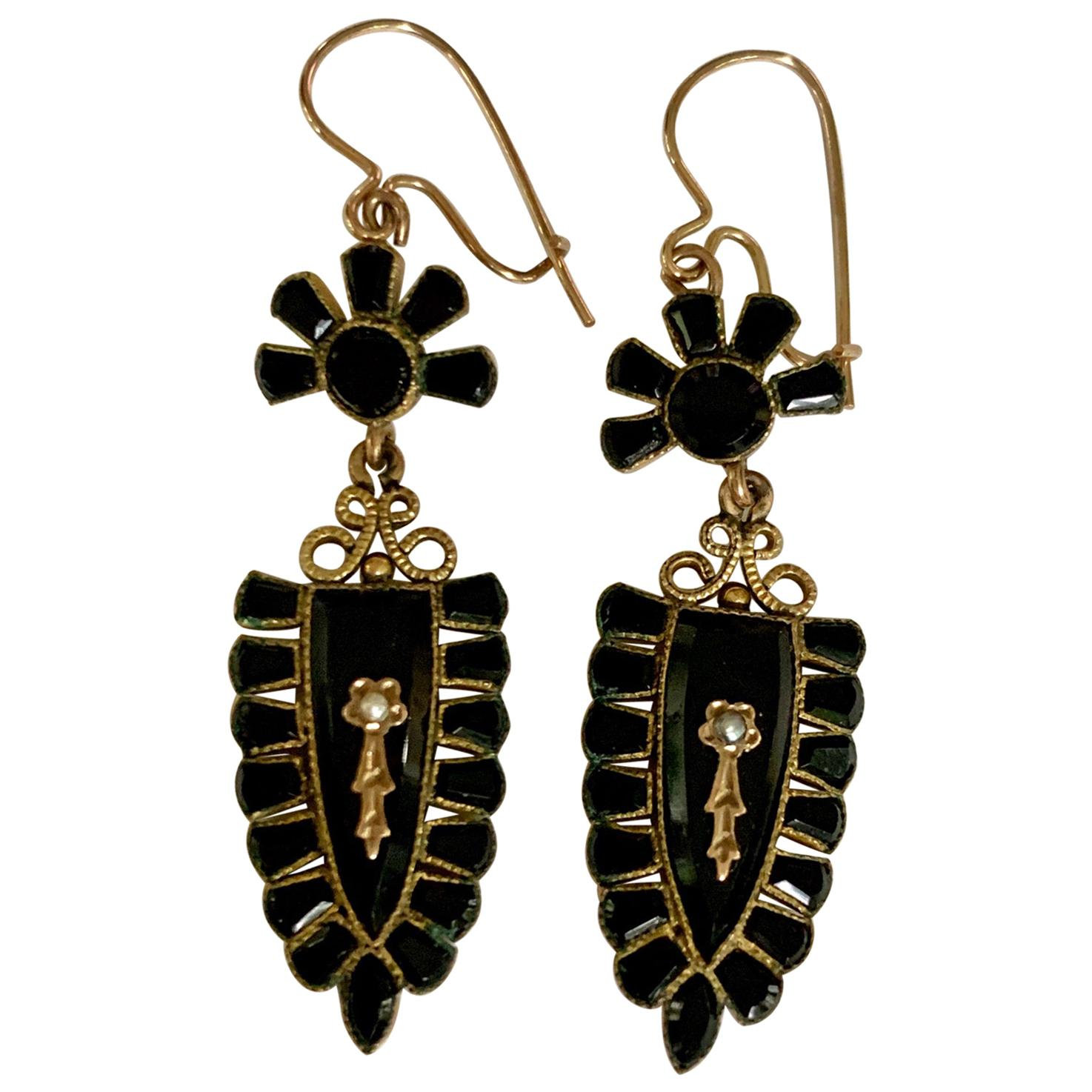 Victorian Black Onyx and Seed Pearl Gold Filled Dangle Earrings